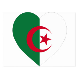 Algeria Flag Heart Postcard