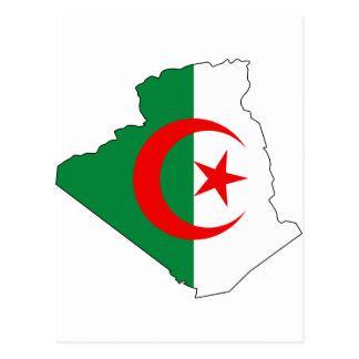 Algeria flag map DZ Postcard
