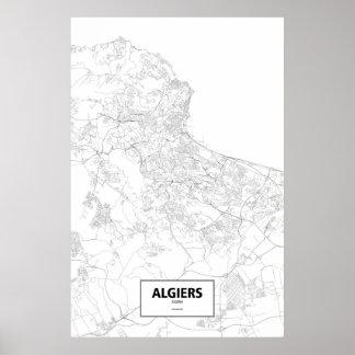 Algiers, Algeria (black on white) Poster