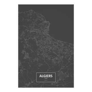 Algiers, Algeria (white on black) Posters