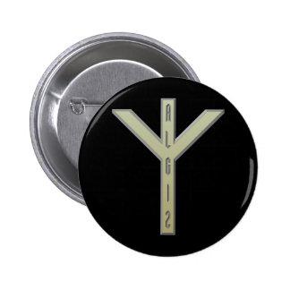 Algiz Rune gold 6 Cm Round Badge