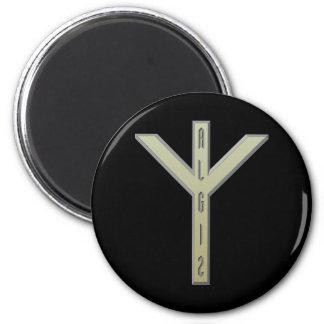 Algiz Rune gold 6 Cm Round Magnet