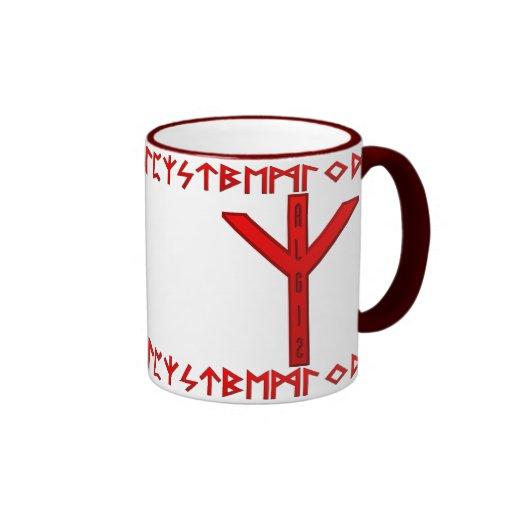 Algiz Rune red Coffee Mugs