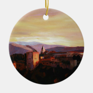 Alhambra Granada Spain with snow covered Mountains Christmas Ornament