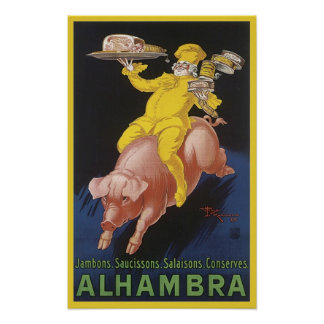 Alhambra Ham Flying Pig Ad Poster