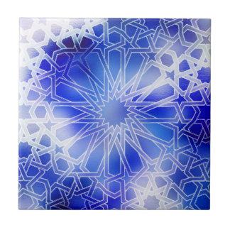 Alhambra Pattern Blue Small Square Tile