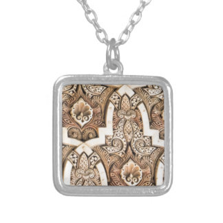 Alhambra Wall Tile #7 Silver Plated Necklace