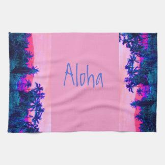 Alhoa Tropical Hawaiian Palm Trees Tea Towel