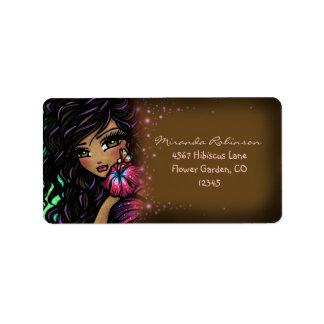 Aliah Hibiscus Mermaid Fairy Fantasy Art Label