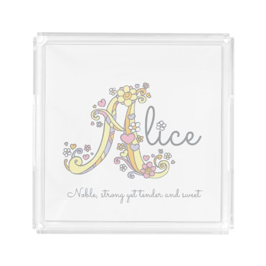 Alice A name and meaning art tray