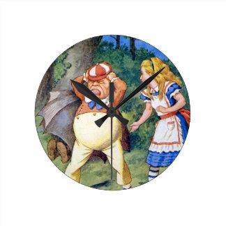 Alice and an angry Tweedledum in Wonderland Round Clock
