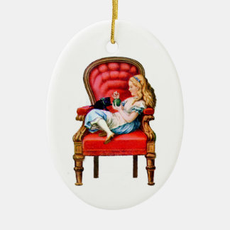 Alice and Dinah from Through The Looking Glass Ceramic Oval Decoration