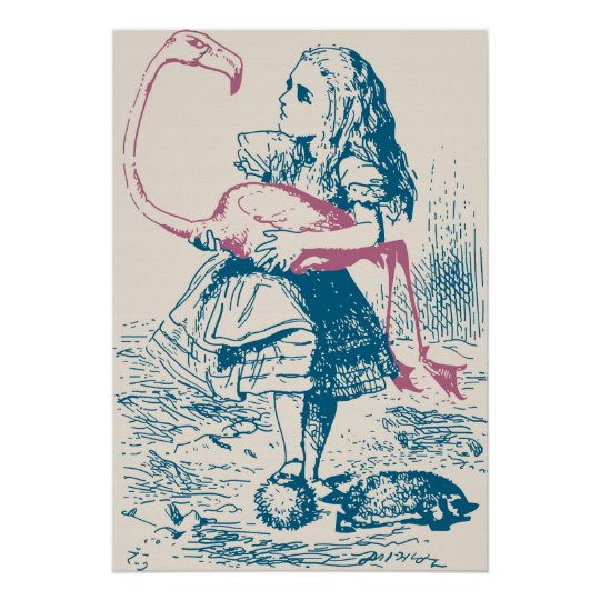 Alice And Flamingo Croquet Mallet Poster