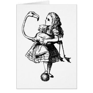 Alice and Flamingo Inked Black Greeting Cards
