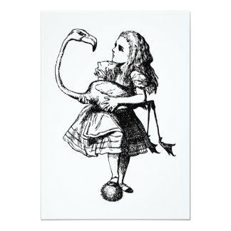 Alice and Flamingo Inked Black 13 Cm X 18 Cm Invitation Card