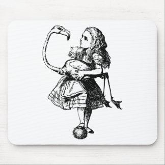 Alice and Flamingo Inked Black Mouse Pad