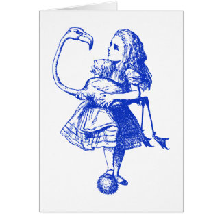 Alice and Flamingo Inked Blue Greeting Card