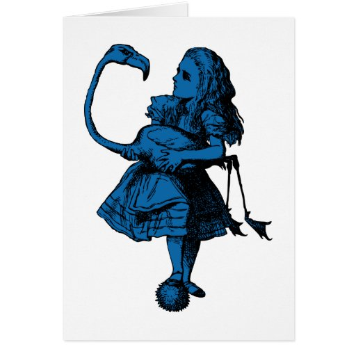 Alice and Flamingo Inked Blue Fill Greeting Card