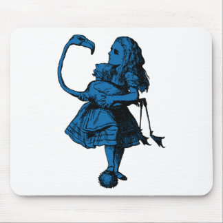 Alice and Flamingo Inked Blue Fill Mouse Pad