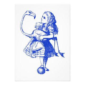 Alice and Flamingo Inked Blue Custom Invitation