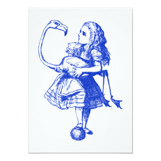 Alice and Flamingo Inked Blue 13 Cm X 18 Cm Invitation Card