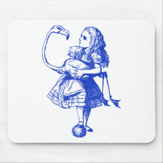 Alice and Flamingo Inked Blue Mouse Pad
