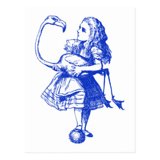 Alice and Flamingo Inked Blue Post Card