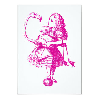 Alice and Flamingo Inked Pink 13 Cm X 18 Cm Invitation Card
