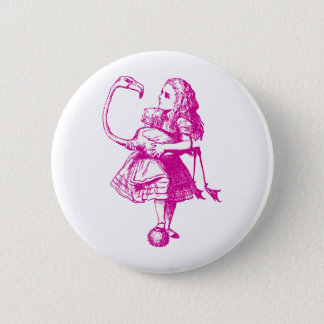 Alice and Flamingo Inked Pink 6 Cm Round Badge