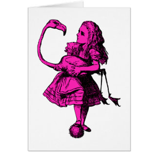Alice and Flamingo Inked Pink Fill Card