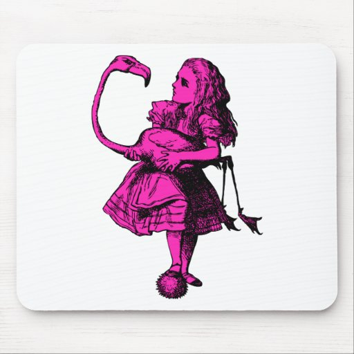 Alice and Flamingo Inked Pink Fill Mousepads