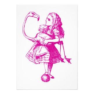 Alice and Flamingo Inked Pink Invites