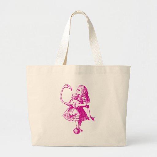 Alice and Flamingo Inked Pink Jumbo Tote Bag