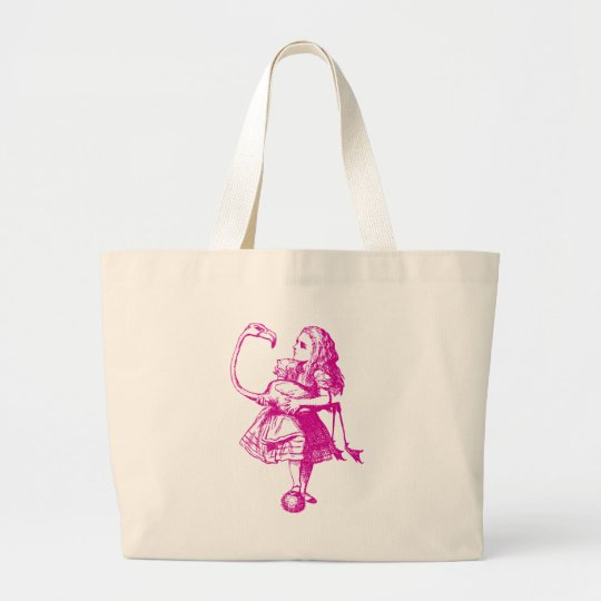 Alice and Flamingo Inked Pink Large Tote Bag