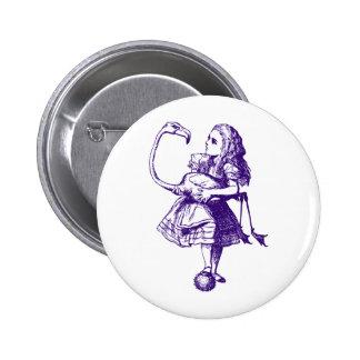 Alice and Flamingo Inked Purple 6 Cm Round Badge