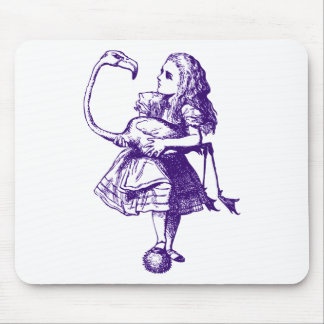 Alice and Flamingo Inked Purple Mouse Pad