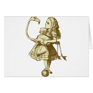 Alice and Flamingo Inked Sepia Greeting Card