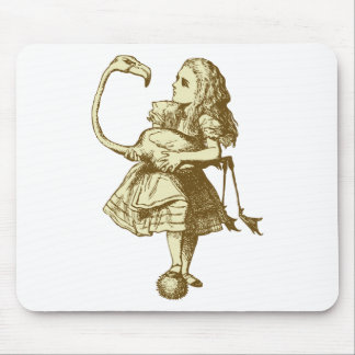 Alice and Flamingo Inked Sepia Mouse Pad