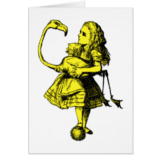 Alice and Flamingo Inked Yellow Fill Card