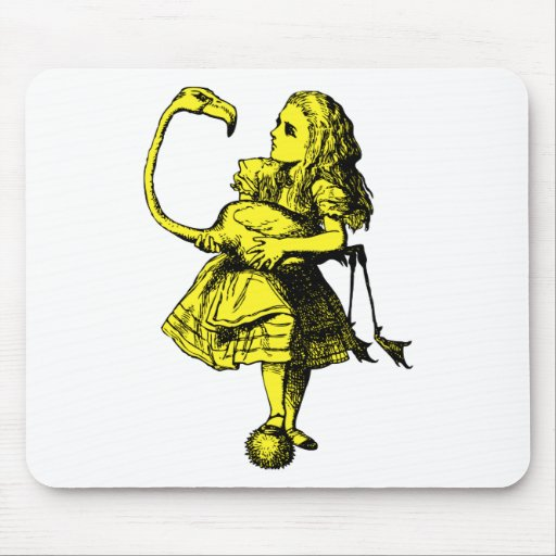 Alice and Flamingo Inked Yellow Fill Mouse Pad