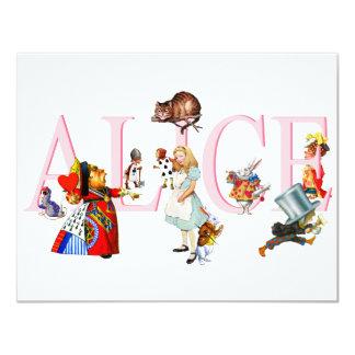 ALICE AND FRIENDS 11 CM X 14 CM INVITATION CARD