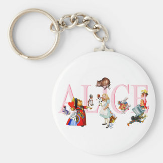 ALICE AND FRIENDS BASIC ROUND BUTTON KEY RING