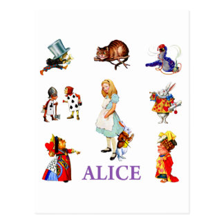 Alice and her friends in Wonderland Postcard