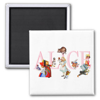 ALICE AND HER FRIENDS IN WONDERLAND SQUARE MAGNET