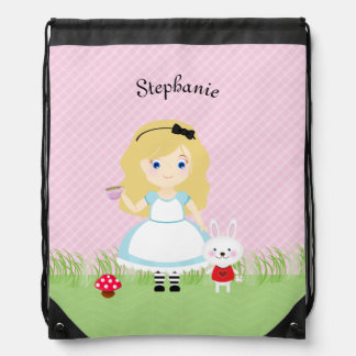 Alice and Her Tea Party Drawstring Backpacks