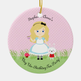 Alice and Her Tea Party Round Ceramic Decoration