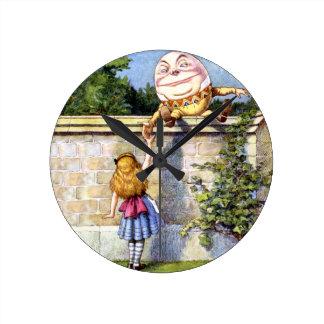 Alice and Humpty Dumpty in Wonderland Round Clock