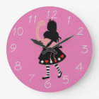 Alice and Pink Flamingo Large Clock