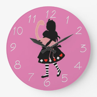 Alice and Pink Flamingo Wall Clock