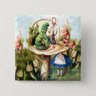 Alice and the Caterpillar in Wonderland 15 Cm Square Badge